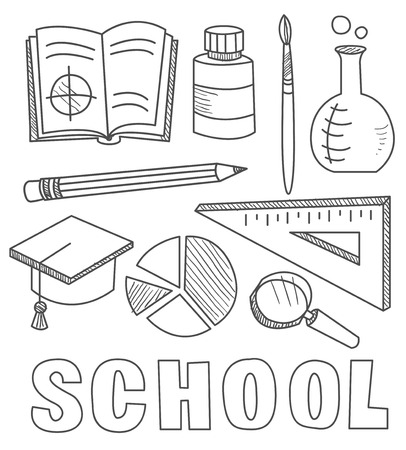 middle school: Back to School Supplies Sketchy Hand-Drawn Illustration Design Elements