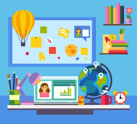 ESTUDIANDO: La educación en línea e-learning concepto de la ciencia con el ordenador libro y el estudio de los iconos de estilo de ilustración vectorial Flat