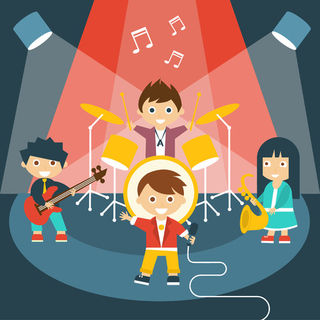 cantando: Ilustración de cuatro niños en una banda de música