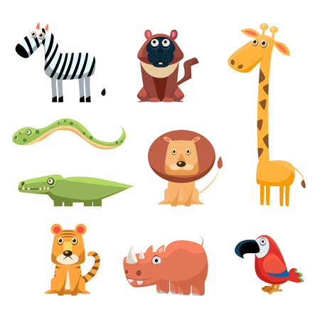 African Animals Fun Cartoon Clip Art Collection Stock Vector - 44007210