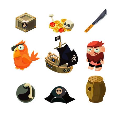 cartoon parrot: Pirate set. Vector illustration. Cartoon game elements