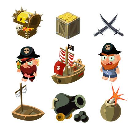mapa del tesoro: conjunto pirata. Ilustración del vector. elementos de juego de dibujos animados