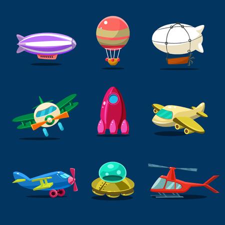 illustration of different kind of planes vector set