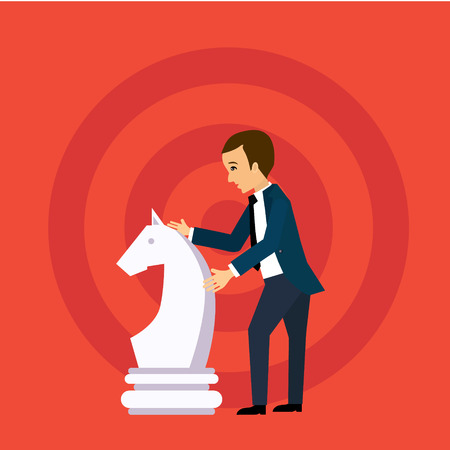strategic position: Vector business strategy concept in flat style,  businessman holding chess figure, planning and management Illustration
