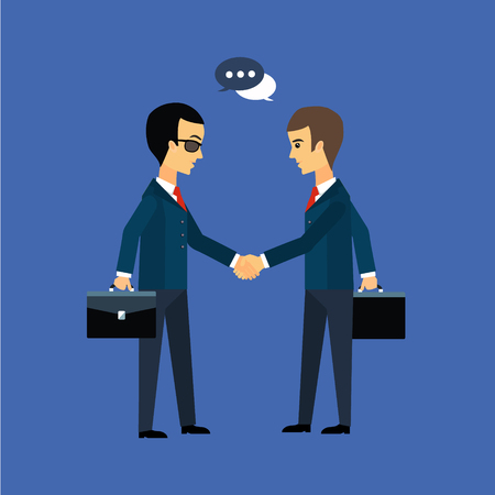 clients: Deal, two businessmen shaking hands vector illustration