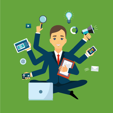 Businessman with multitasking and multi skill. Keep calm. Business concept. Flat design 向量圖像