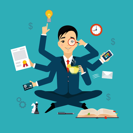 Businessman with multitasking and multi skill. Keep calm. Business concept. Flat design 矢量图像