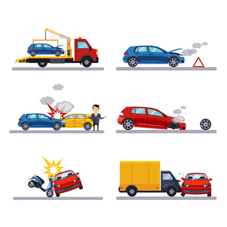 skidding: Car accidents set on white background vectot illustration
