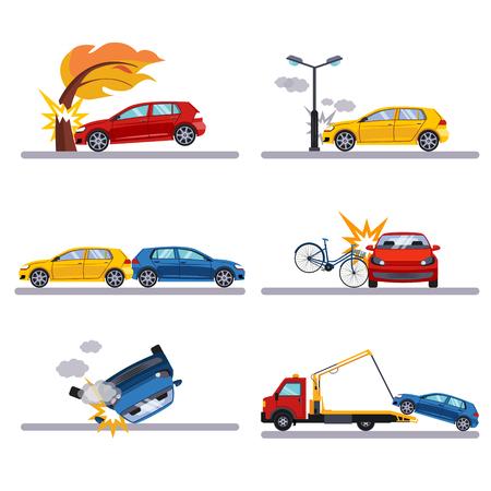 carro caricatura: Los accidentes de tráfico establecidos en el fondo blanco vectot ilustración