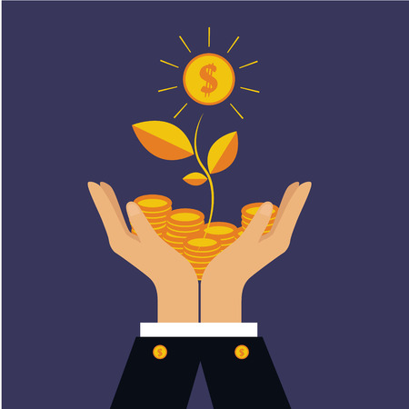 treed: Vector finance concept in flat style  investing money, coins in hand, money treed Illustration