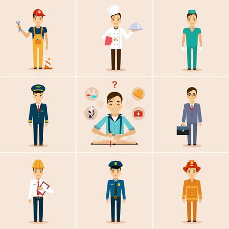 security guard man: Concept of education, the girl chooses a profession. Flat design
