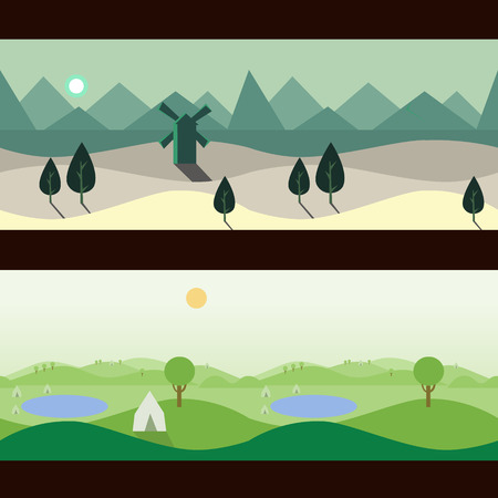 scenery: Background Seamless scenery seasons and landscapes, vector illustration