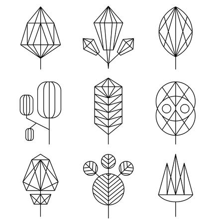 ツリーのセット、ヒップスター線形スタイルのグラフィカルな葉  イラスト・ベクター素材