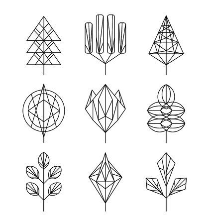 graphical: Graphical leaf of the tree set, hipster linear style Illustration