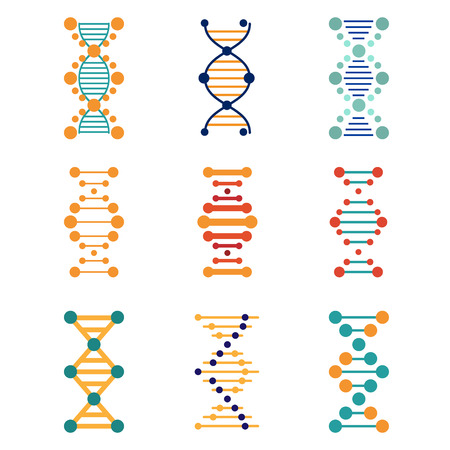 spiral: DNA, genetics vector icons set flat style