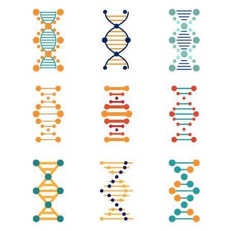 genomes: DNA, genetics vector icons set flat style