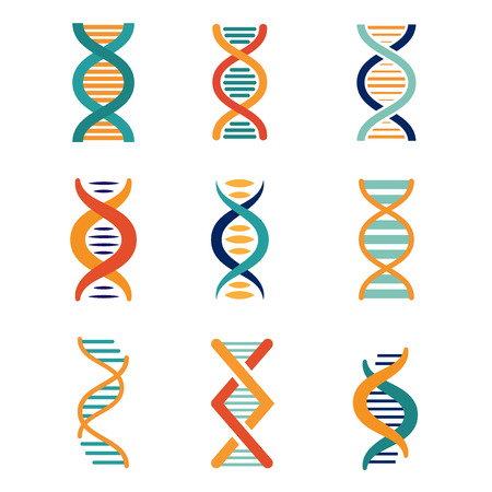 dna icon: DNA, genetics vector icons set flat style