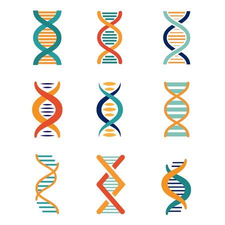 DNA, genetics vector icons set flat style