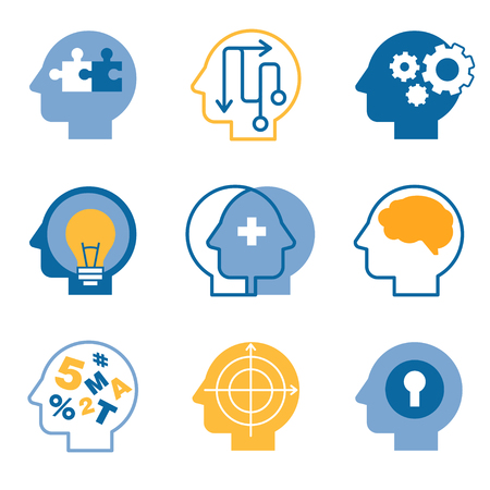 Head brain, mind process vector icons set