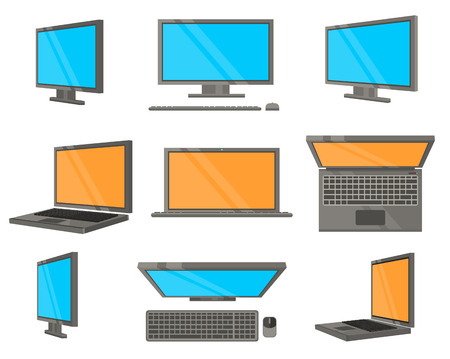 electronic device: Electronic Device Flat Icons. Computer and laptop in different angles