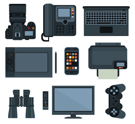 business process: Office equipment set of vector icon flat style