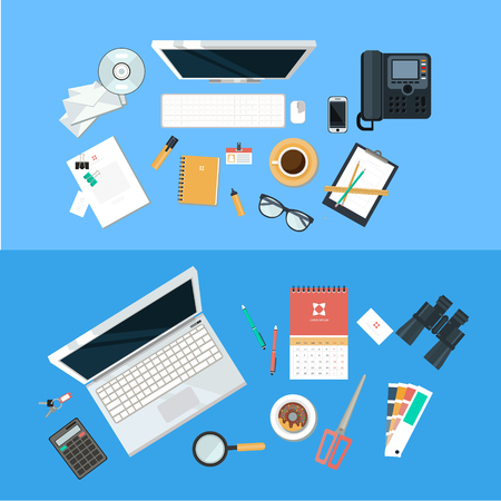 Office items: Workplace concept. Flat design. Set of objects on the table