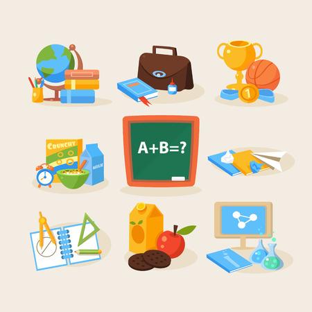 school supplies: Back to school design template flat design vector illustration