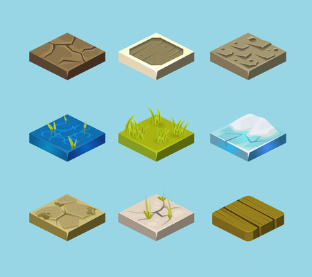 terrain: Set of ground surfaces. Grass, rocks and water. Landscape web design. Vector illustration