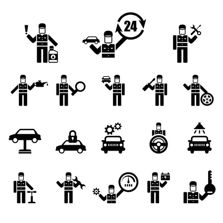 windshield wiper: Auto repair and mechanic Icons vector set
