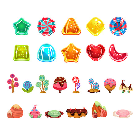 Candies vector set, cute sweet game elements