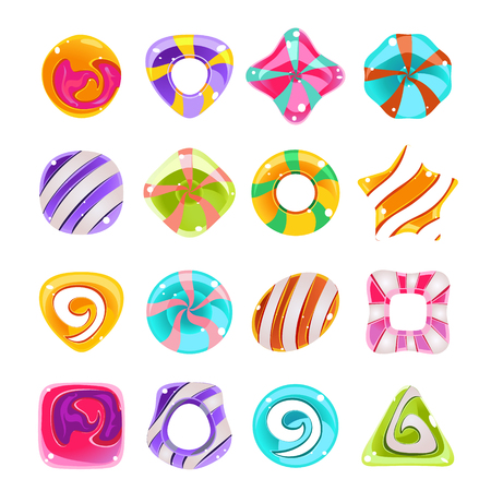 caramel candy: Candies vector set, cute sweet game elements