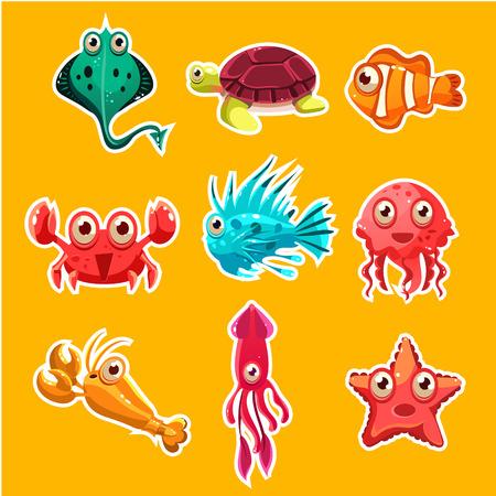 animal species: Many species of fish and marine animal life Victor illustration