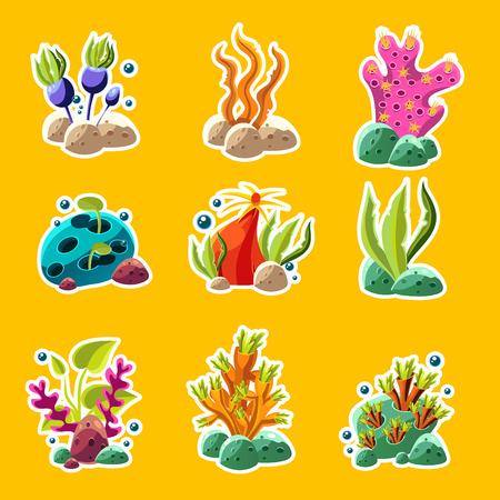 algae cartoon: Set of cartoon underwater plants and creatures. Vector isolated corals and algae.