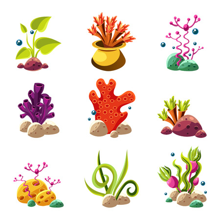 Set of cartoon underwater plants and creatures. Vector isolated corals and algae.