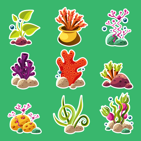 kelp: Set of cartoon underwater plants and creatures. Vector isolated corals and algae.