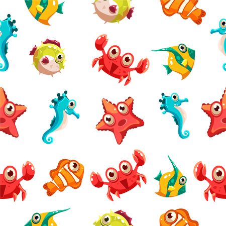 Kids seamless pattern with sea life vector illustration