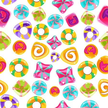 jellybean: Vector seamless background with colorful candies on a white background. Illustration