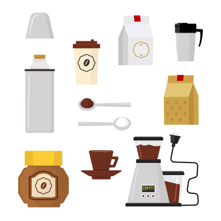 Flat modern icons for coffee shop. Vector illustration