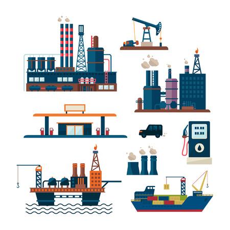 pozo petrolero: Industria del petróleo concepto de negocio de distribución de combustibles producción de diesel gasolina y cuatro iconos Ilustración de la composición del vector de transporte