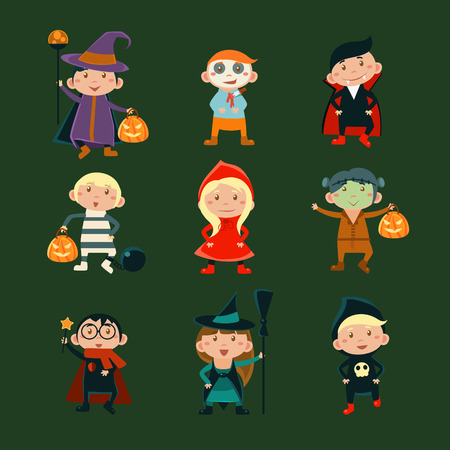 child girl: Children in Halloween costumes vector illustration of Halloween character kids