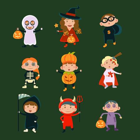wilkołak: Dzieci w kostiumy Halloween ilustracji wektorowych Halloween znaków dzieci