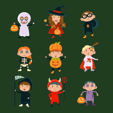 loup garou: Les enfants en costumes d'Halloween vecteur illustration de Halloween caract�res enfants