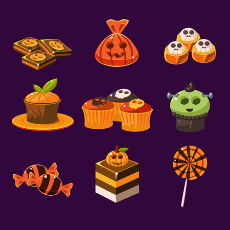 caramel candy: Set of colorful halloween sweets and candies icons