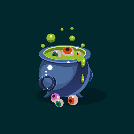 decoction: Vector pot of green potion and eyes Illustration