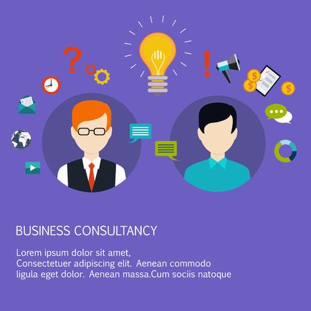 hombres ejecutivos: asesoramiento empresarial, coaching, formación de negocios. ilustración vectorial de estilo plano