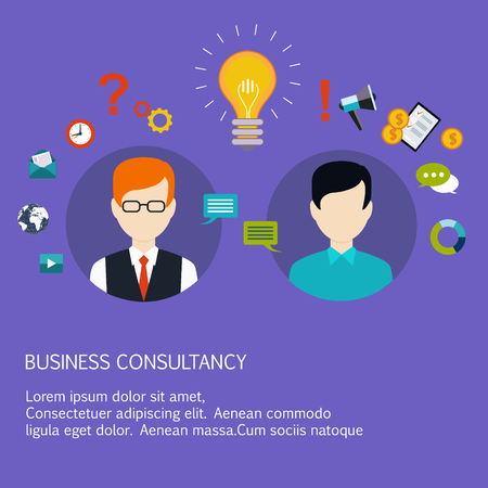 advice: Business advice, coaching, training on business. Flat style vector illustration