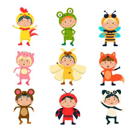 동물 벡터 일러스트 레이 션 설정의 의상을 입고 귀여운 아이들 일러스트