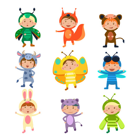 monkey suit: Children Wearing Costumes of Animals and Insects Vector Illustration Set Illustration