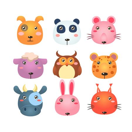 vector cartoon: Set of Cute Cartoon Animal Faces Vector Illustration Illustration