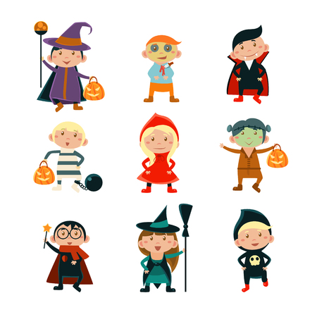 Children wearing Halloween costumes set of vector illustration characters Çizim
